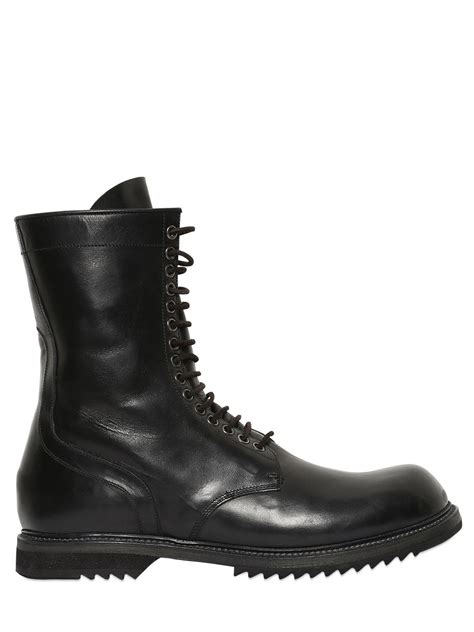 rick owens combat boots rick owens leather combat boots in black for lyst