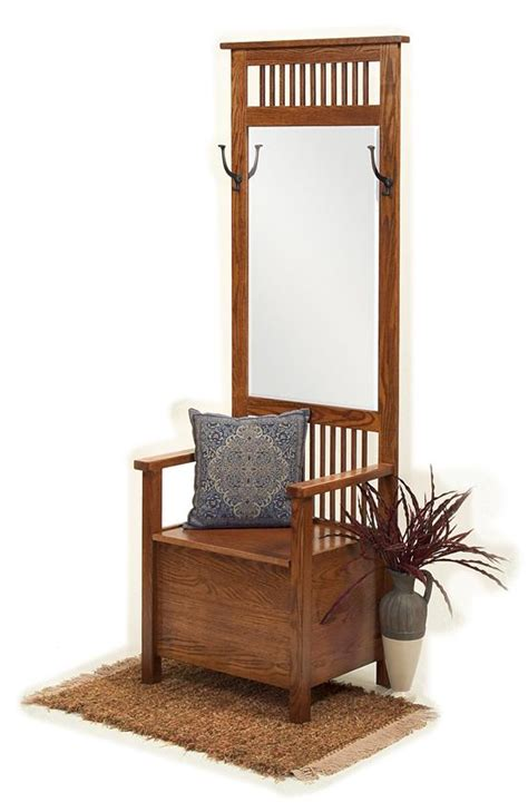 mission hall tree bench amish mission entryway storage bench with mirror