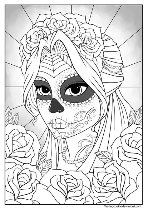 sugar skull girl colouring page by tearingcookie on