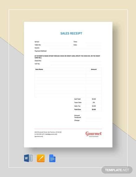 printable sales receipt samples  ms word