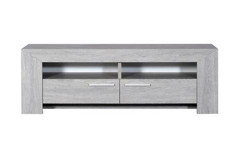 Meuble TV 2 tiroirs, 2 niches chêne gris clair