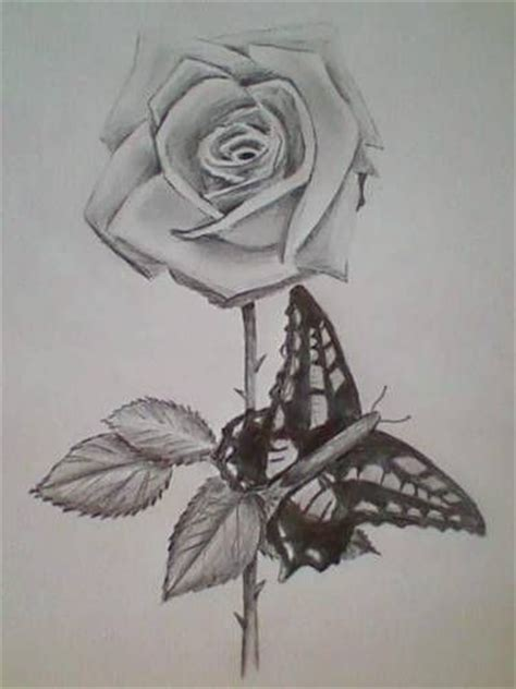 black rose and butterfly tattoo and butterfly design