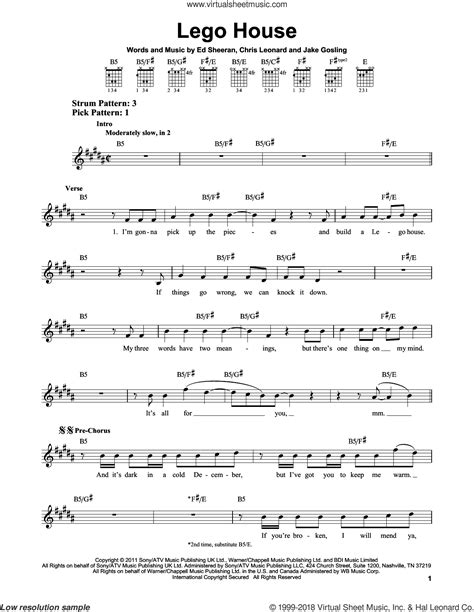 chords for house music sheeran lego house sheet music for guitar solo chords
