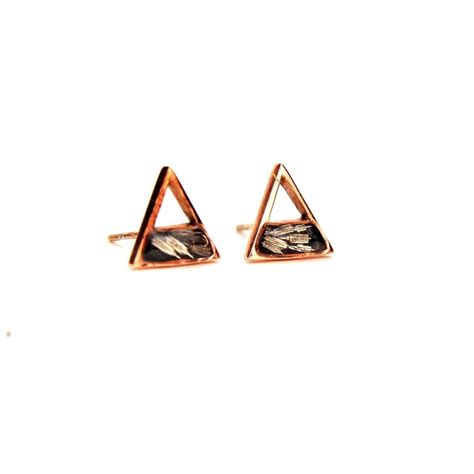 Triangle Stud gold triangle stud earrings with recycled gears