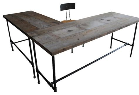 Rustic L Shaped Desk Modern Industry L Shape Reclaimed Wood Desk Standard Rustic Desks And Hutches Other Metro