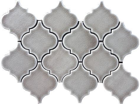 9 79sf dove gray arabesque glazed ceramic mosaic tile