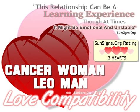 cancer woman leo man a learning relationship sun signs