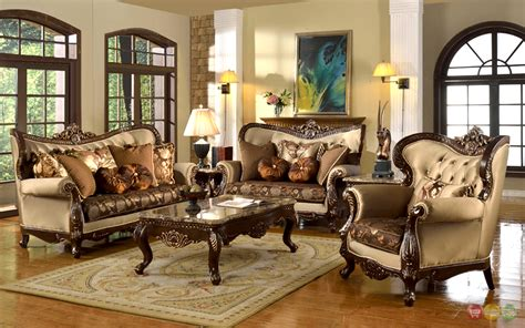 Living Room Furniture Traditional Style Antique Style Traditional Wing Back Formal Living Room Furniture Set Brown Ebay
