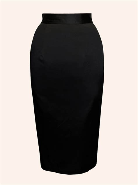 pencil skirt black cotton