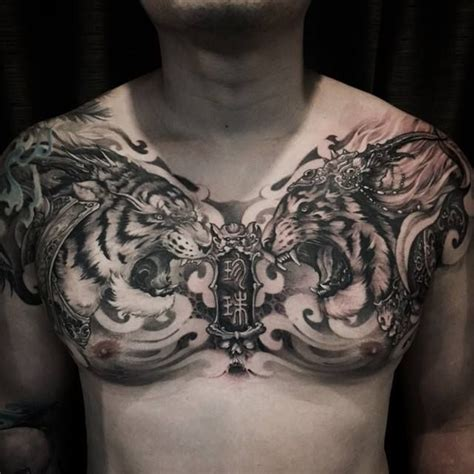 full chest tattoos for men 37 best chest tiger tattoos images on