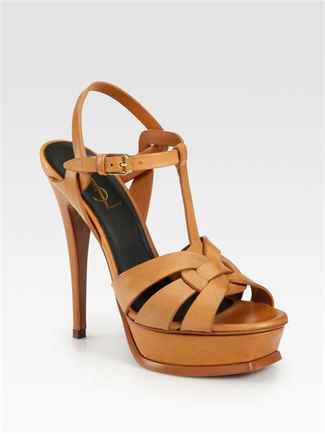 laurent tribute sandal laurent tribute leather platform sandals in brown