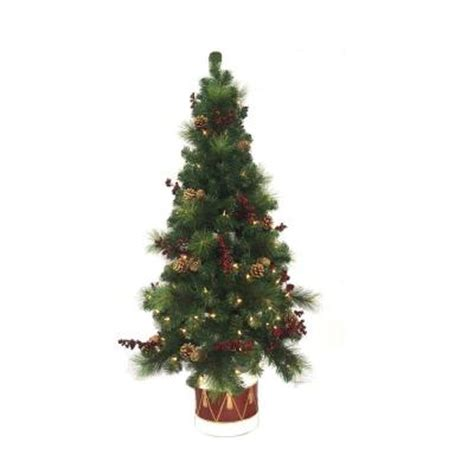 home accents holiday 4 5 ft pre lit potted artificial
