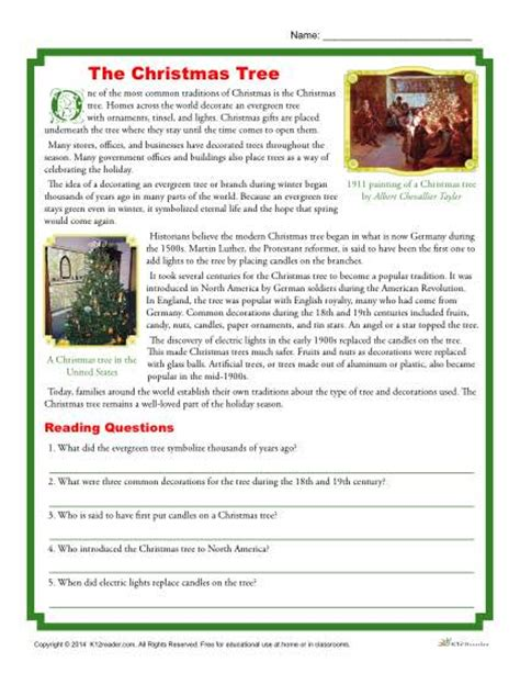 free christmas printable worksheets reading comprehension the christmas tree printable reading comprehension activity