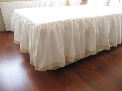 bed ruffles ivory cotton bedskirt custom drop 14 18 20 22 inch queen king