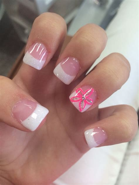 Nail Tips by Acrylic White Tips With Pink Flower Accent Nail