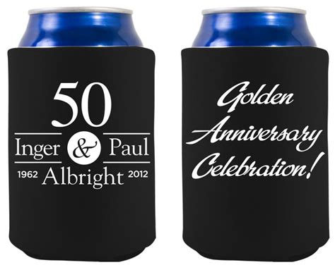 Wedding Anniversary Koozies by Front Back Of Golden Anniversary Koozie 50th