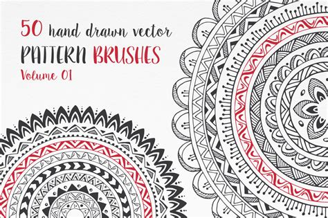 pattern brush c hand drawn pattern brushes bundle vol 01 02 03 by