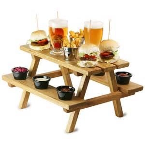 Plans For A Picnic Table Bench by Miniature Oak Picnic Bench Serving Platter Barmans Co Uk
