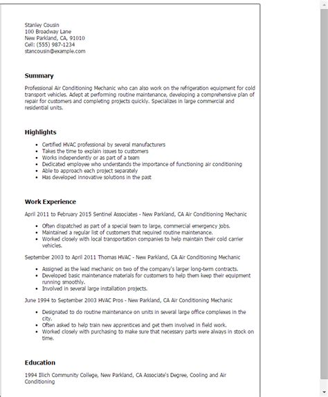 air resume sles resume for refrigeration and airconditioning mechanic