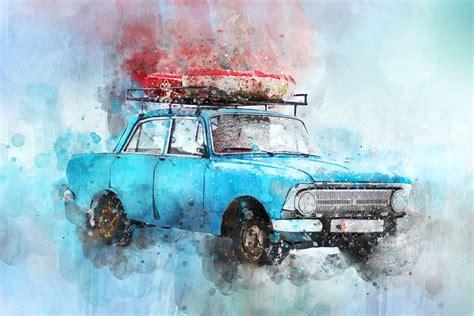 car watercolor  image  pixabay