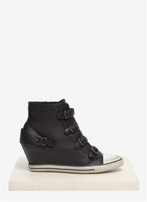 Sneakers Wedges 5cm 1 lyst ash eagle leather wedge sneakers in black