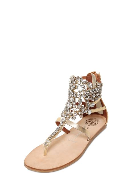 faux leather sandals lyst jeffrey cbell 10mm jeweled faux leather sandals