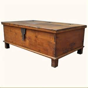 Teak wood wrought iron distressed coffee table storage box chest trunk