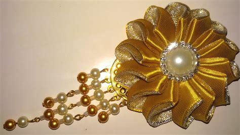 tutorial buket bunga dari pita satin diy membuat bunga meteor dari pita satin glitter 1
