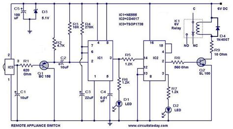 remote light switch circuit diagram remote controlled switch circuit for appliances