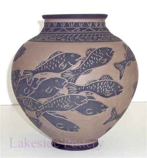 Sea Urchin Vase Large Sgraffito Fish Vase
