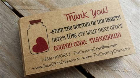 Etsy Gift Card Discount - custom thank you for the order cards inserts promo coupon