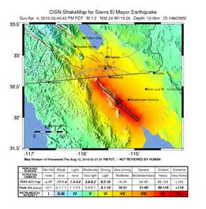california shake map 2010 baja california earthquake