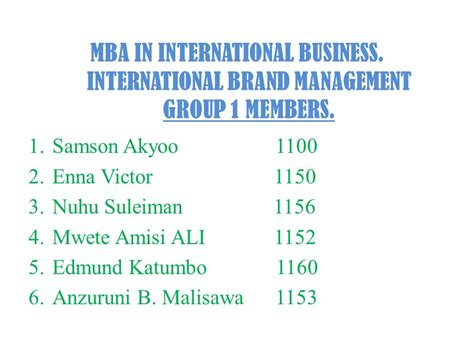 For Mba In International Business Management branding as a strategy new forms of decision processes