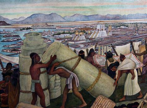 Eiffel Tower Wall Murals tenochtitlan 1945 by diego rivera
