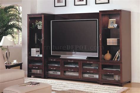 Wall Units With Glass Doors Cappuccino Finish Modern Entertainment Wall Unit W Glass Doors