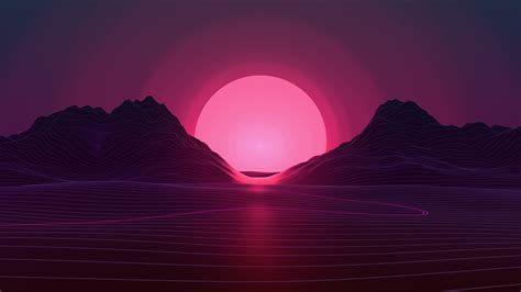 wallpaper retrowave lines sunset  abstract
