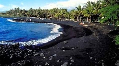 black sand beach big island hawai praias de areias negra youtube