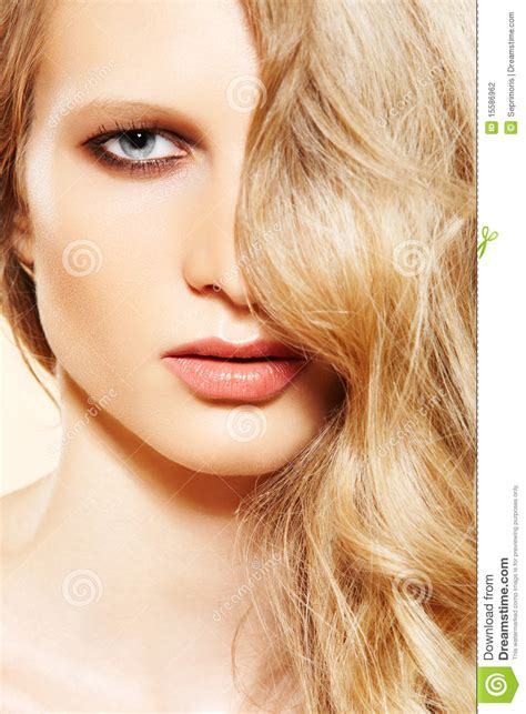 beautiful model hair and make up fashion model beautiful long blond hair make up stock