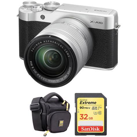 Fujifilm X A10 Kit 16 50mm F 3 5 5 6 Ois Ii Silver fujifilm x a10 mirrorless digital with 16 50mm lens b h