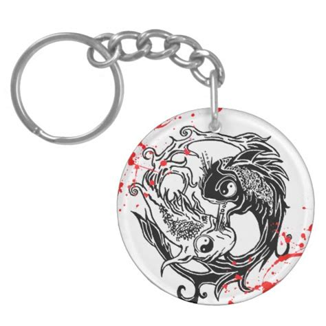 keychain tattoo designs cool blood splatter yin yang koi fishes