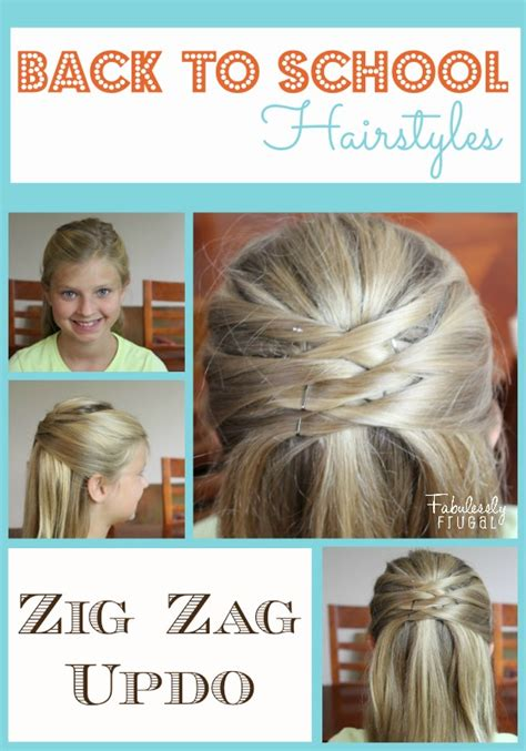 diy back to school hairstyles for medium hair back to school hairstyles zig zag updo fabulessly frugal