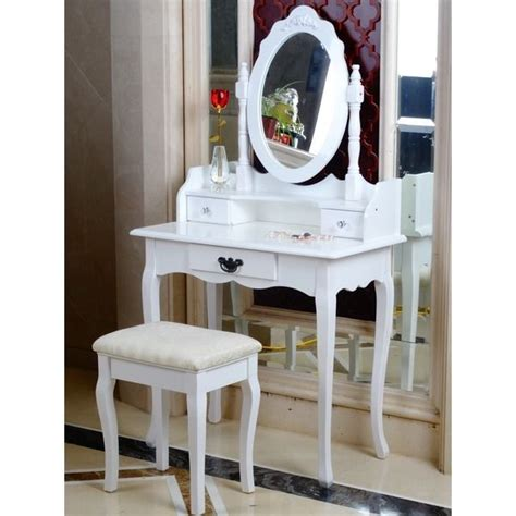white bedroom dressing table white dressing table oval mirror stool set 3 drawer