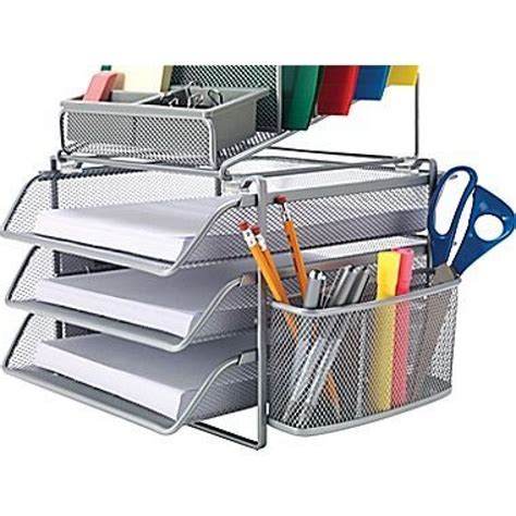 wire mesh desk organizer staples 174 all in one silver wire