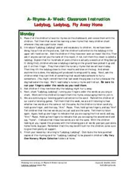 ladybug ladybug fly away home lesson plan for 1st 2nd