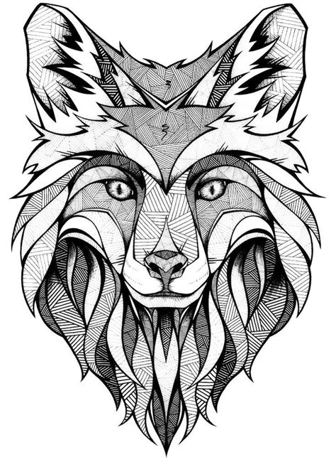 coloring page of a fox face mandala fox face coloring page art coloring pages