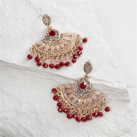 Gray And Red Dangle Chandelier Earrings World Market Dangle Chandelier Earrings