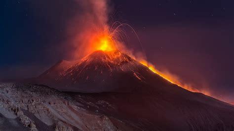 nature sicilia night mountain volcano etna eruption hd