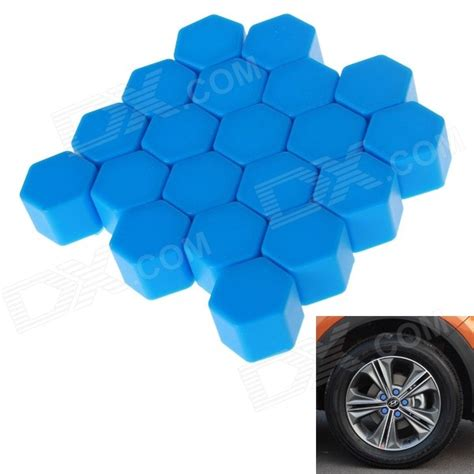 Cover Jalu As Roda Mangkok Blue ta do parafuso do cubo da roda do carro do silicone 19 azul 20pcs frete gr 225 tis