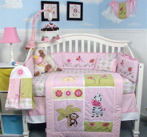 Pink Jungle Crib Bedding by Lovely Pink Baby Bedding Webnuggetz