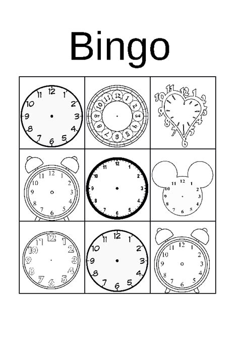 printable clock bingo 124 free telling time worksheets and activities